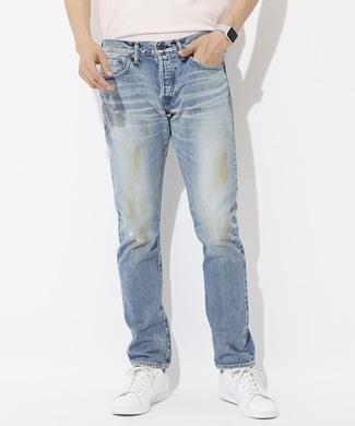 BIG JOHN 「CALIFORNIA MADE」セルビッジマッドテーパードスリムデニムパンツ メンズ 濃加工色