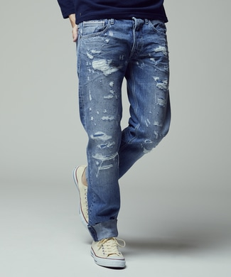 REPLAY 「MAESTRO」 クロスハッチコットンデニムパンツ メンズ 淡加工色