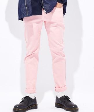 PLUS ONE 【WEB限定】24色スキニーパンツ メンズ【店舗裾上ゲ不可】 ピンク