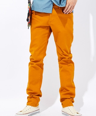 PLUS ONE 【WEB限定】24色スキニーパンツ メンズ【店舗裾上ゲ不可】 ダークイエロー