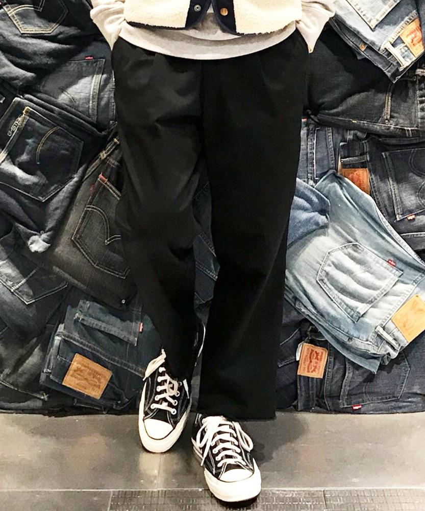 Dickies ストラップ付ワイドパンツ メンズ ブラック