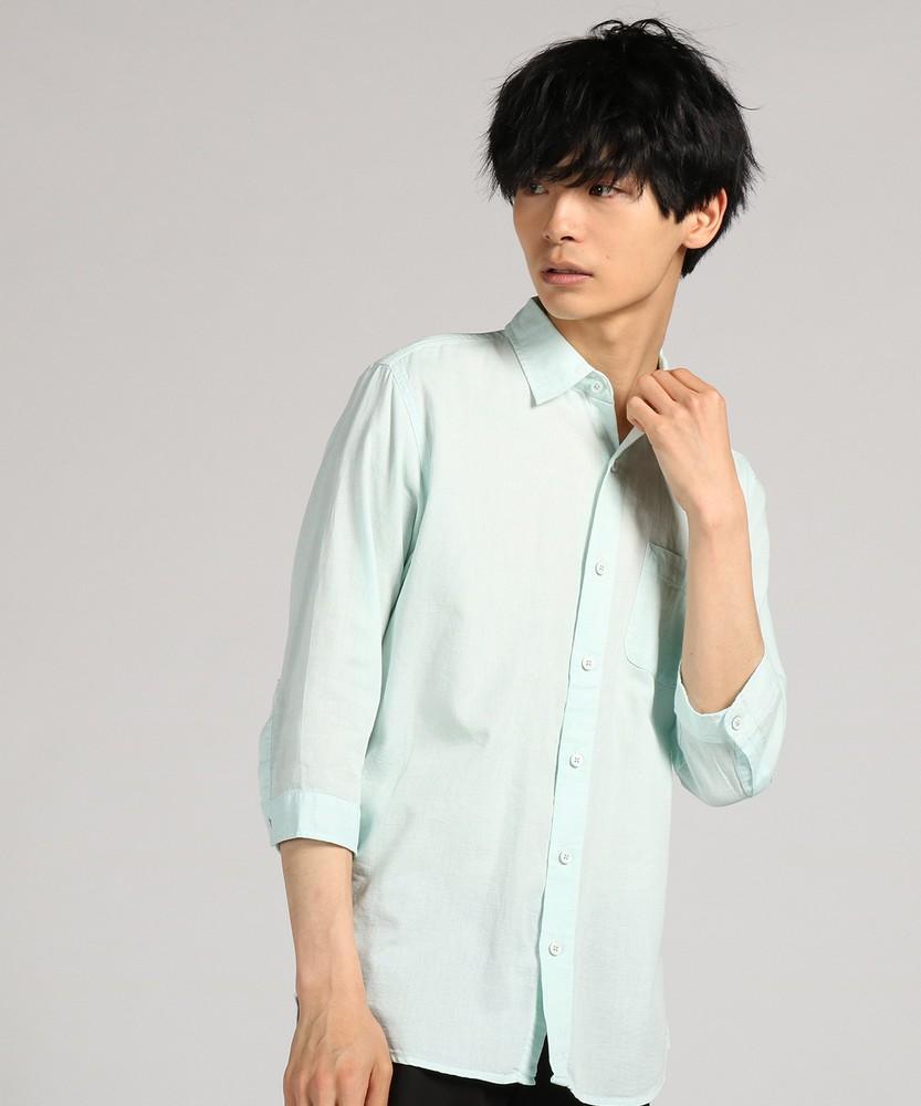 CERONIAS シャンブレーパナマレギュラーカラー7分袖シャツ メンズ グリーン