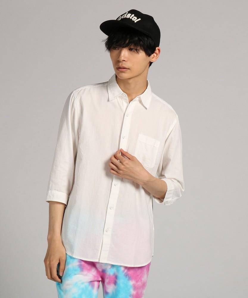 CERONIAS シャンブレーパナマレギュラーカラー7分袖シャツ メンズ ホワイト