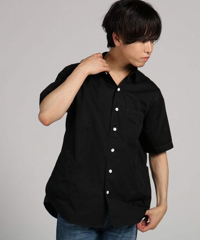 CUBIC SUGAR ハーフスリーブシャツジャケット メンズ ブラック