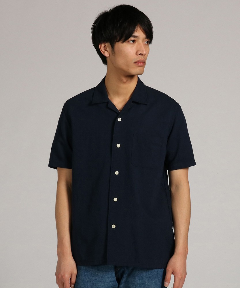 BACK NUMBER 「WASHI DENIM」和紙シジラオープンシャツ メンズ ネイビー