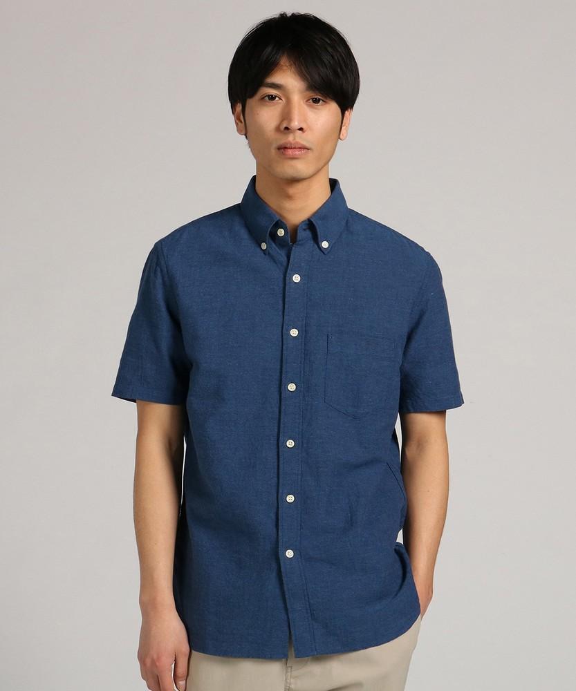 BACK NUMBER 「WASHI DENIM」和紙無地ボタンダウンシャツ メンズ ブルー