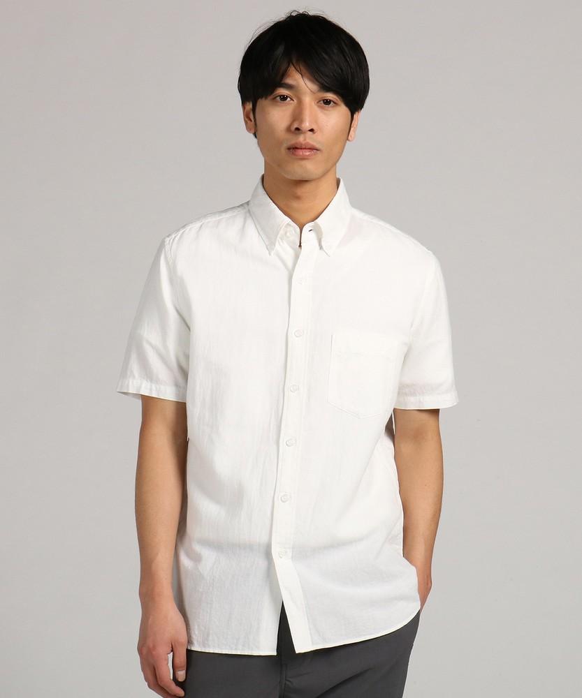 BACK NUMBER 「WASHI DENIM」和紙無地ボタンダウンシャツ メンズ ホワイト