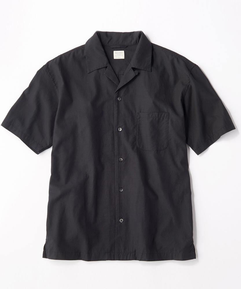 BACK NUMBER 「SALASALA」テンセルオープンカラー半袖シャツ メンズ ブラック
