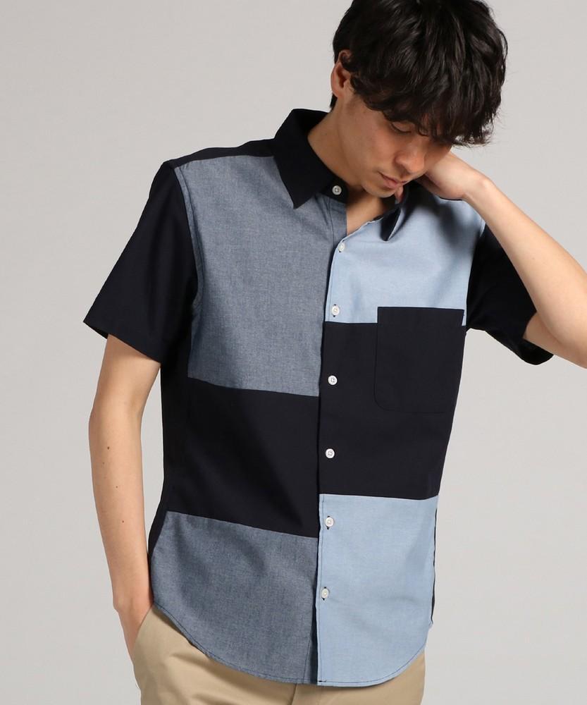 Trimmer ショートスリーブ切り替えシャツ メンズ ネイビー