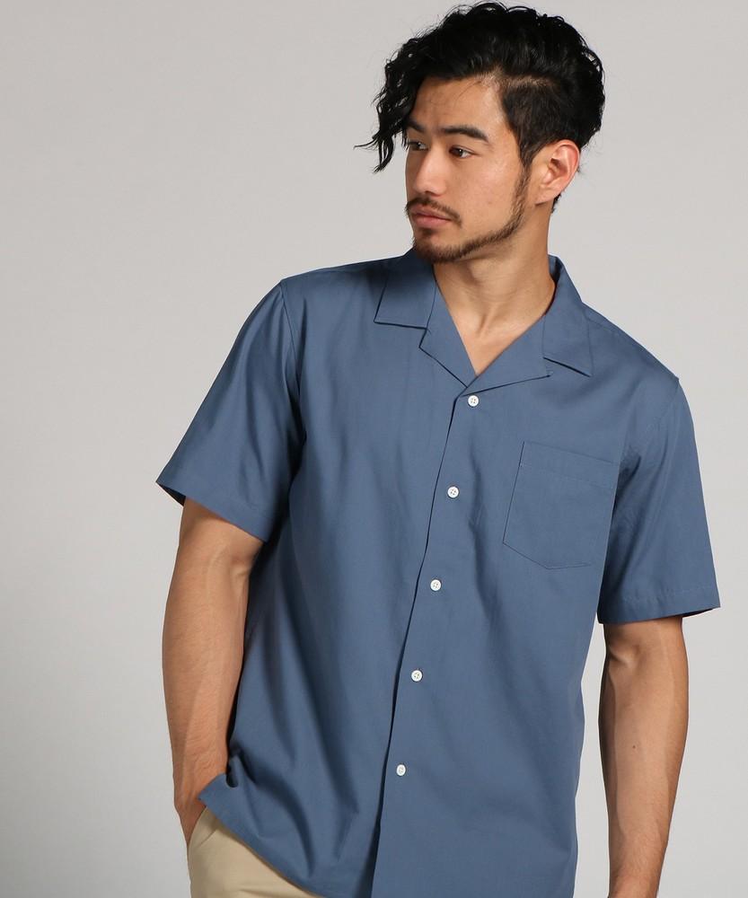 CERONIAS 綿レーヨン開襟シャツ メンズ ブルー