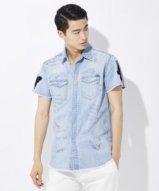 REPLAY アップリケデニムシャツ メンズ 淡加工色