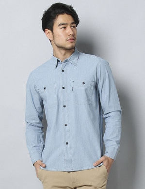 EDWIN シャンブレーワークシャツ メンズ 淡色