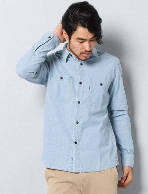EDWIN シャンブレーワークシャツ メンズ 淡加工色