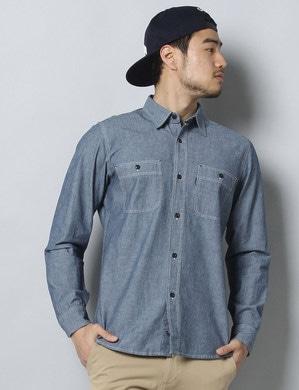EDWIN シャンブレーワークシャツ メンズ 中濃色