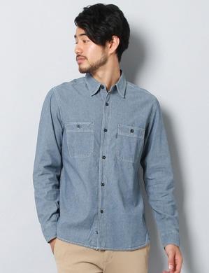 EDWIN シャンブレーワークシャツ メンズ 中濃加工色