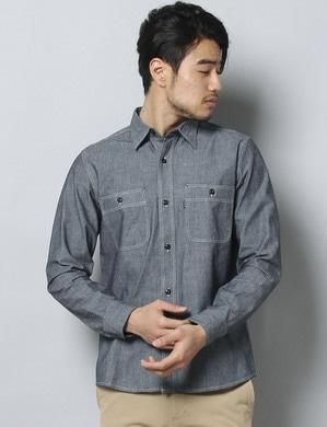 EDWIN シャンブレーワークシャツ メンズ 濃色