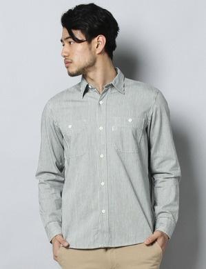 EDWIN シャンブレーワークシャツ メンズ ホワイト