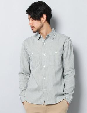 EDWIN シャンブレーワークシャツ メンズ オフシロ