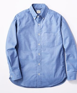 BACK NUMBER オックスボタンダウンストレッチシャツ メンズ ブルー