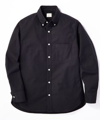 BACK NUMBER オックスボタンダウンストレッチシャツ メンズ ブラック