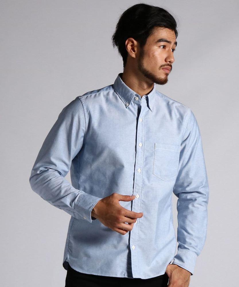 BACK NUMBER 日本製オックスシャツ メンズ サックス