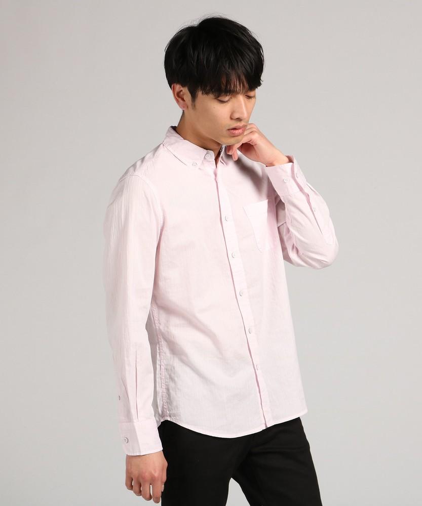 未入力 からみ織りストライプシャツ メンズ ピンク