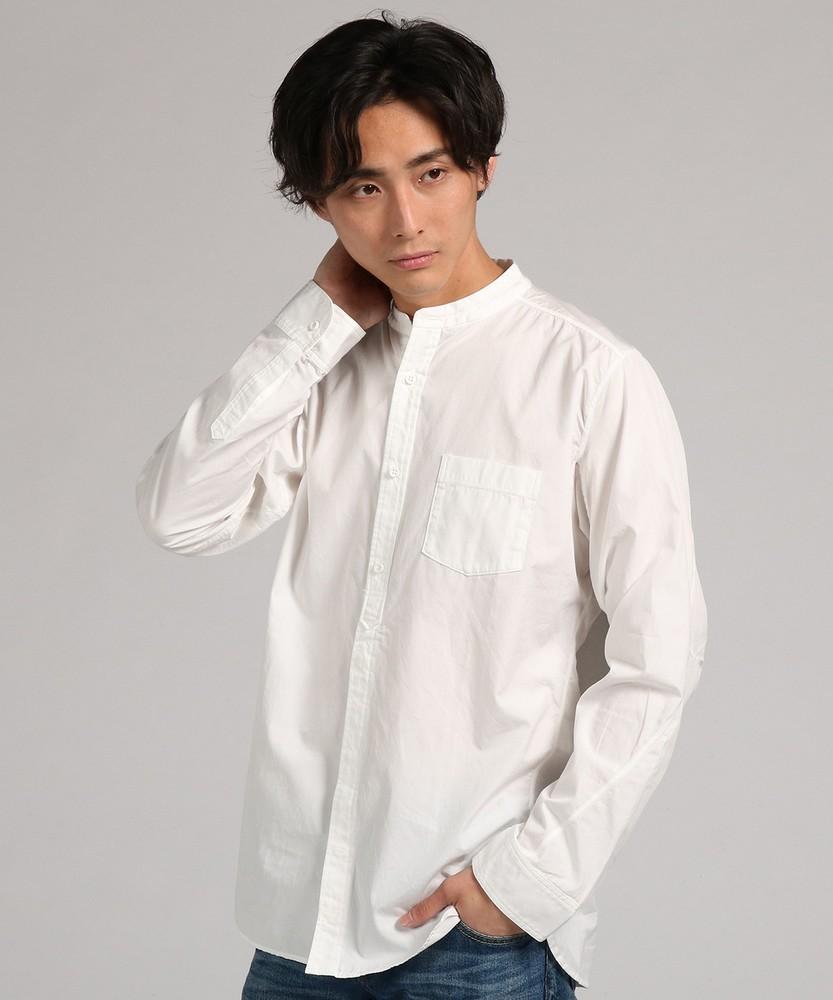 boga boga Loopline 【WEB限定】日本製「Tシャツのようにシャツを着る」 立体パターンバンドカラーシャツ メンズ ホワイト