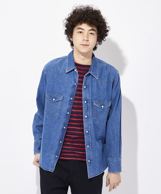 Wrangler 【WEB限定】デニムウエスタンシャツ メンズ 中濃加工色
