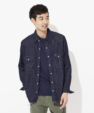 Wrangler 【WEB限定】デニムウエスタンシャツ メンズ ワンウォッシュ