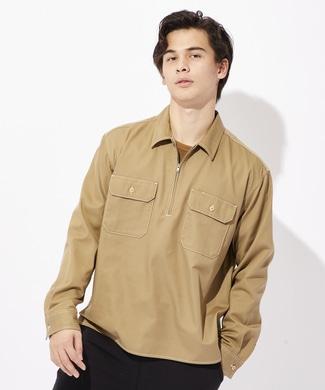 Dickies ハーフジップワークシャツ メンズ ベージュ