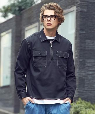 Dickies ハーフジップワークシャツ メンズ ブラック