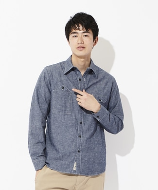 BACK NUMBER 【WEB限定】日本製 岡山セルビッチワークシャツ メンズ 中濃色