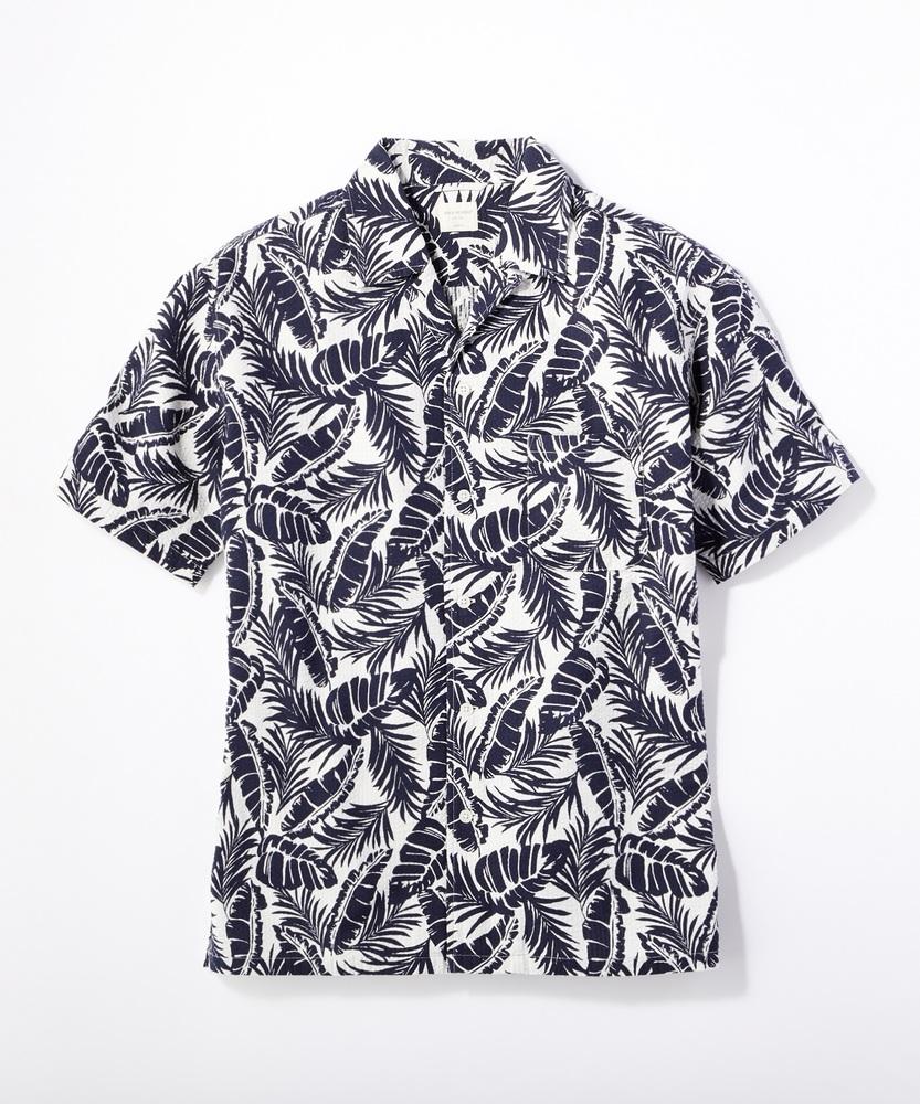 BACK NUMBER 「SALASALA」総柄オープンカラーシャツ メンズ ホワイト