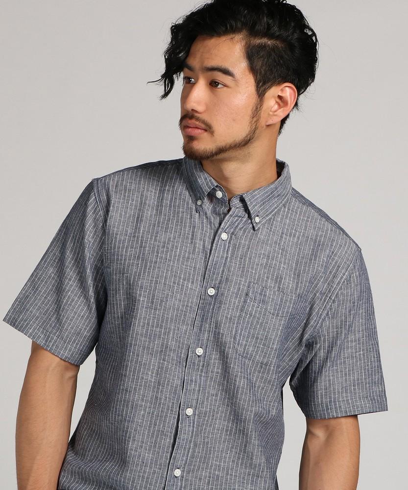 CERONIAS 綿麻ストライプシャツ メンズ ネイビー