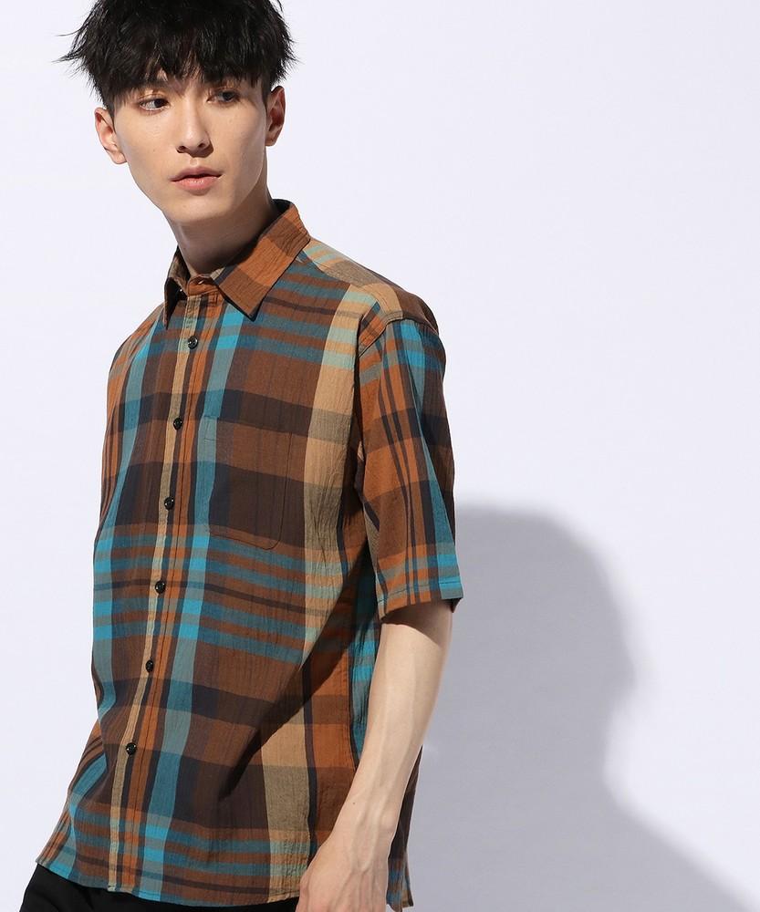 Trimmer 楊柳チェック半袖シャツ メンズ ブラウン