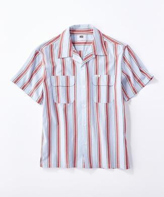 Lee ストライプワークシャツ メンズ サックス