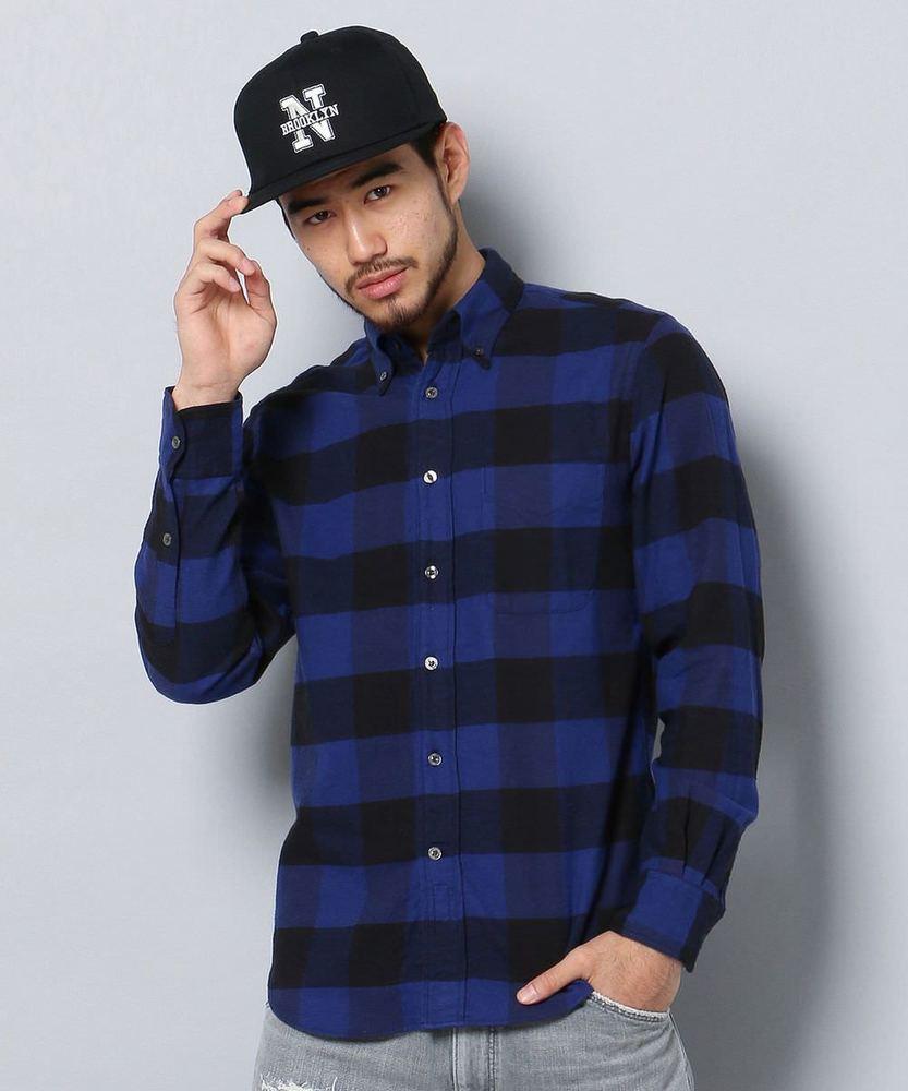 BARNS シャトルブロックチェックシャツ メンズ ブルー