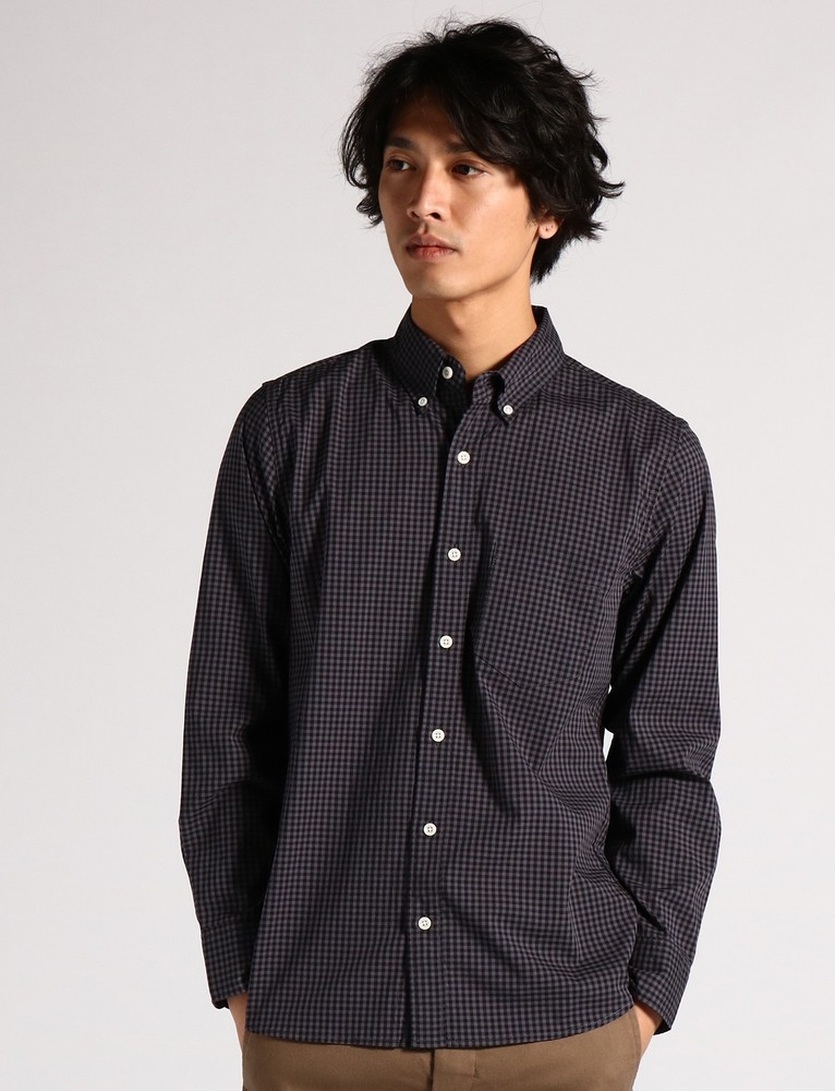 BACK NUMBER ストレッチギンガムチェックシャツ メンズ グレー*ブラック