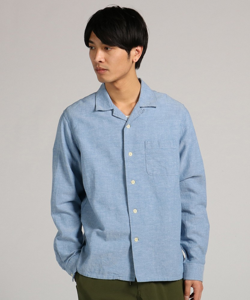 BACK NUMBER 「WASHI DENIM」和紙オープンカラーシャツ メンズ サックス