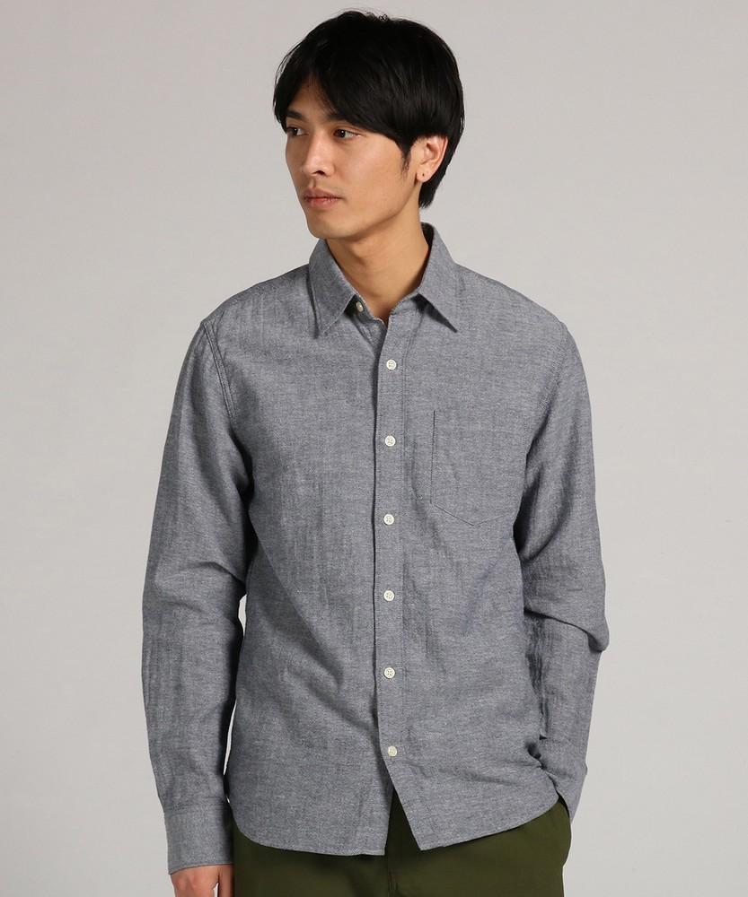 BACK NUMBER 「WASHI DENIM」和紙レギュラーシャツ メンズ グレー