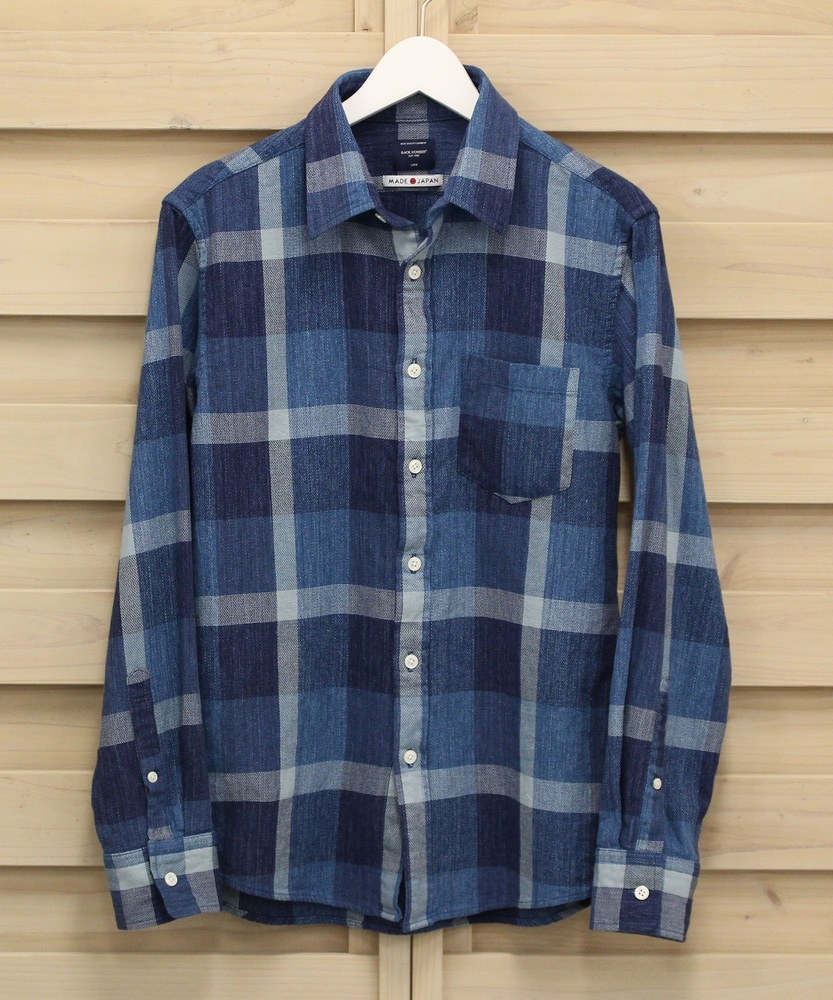 BACK NUMBER 【WEB限定】日本製新潟スペック染めチェックレギュラーシャツ メンズ サックスチェック