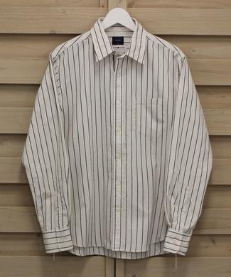 BACK NUMBER 【WEB限定価格】日本製西脇シャトル織セルビッチストライプレギュラーシャツ メンズ オフホワイト*ネイビー