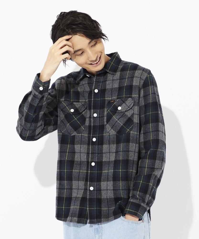 Lee ワークシャツ メンズ グレー*グリーン