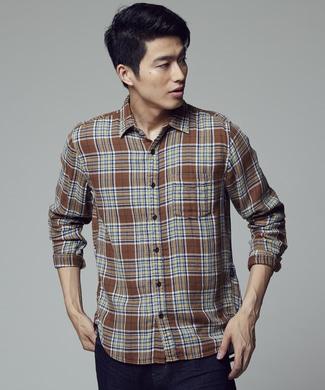 BACK NUMBER Wガーゼチェックシャツ メンズ ブラウン