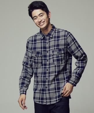 BACK NUMBER クラシックワークシャツ メンズ ブルー