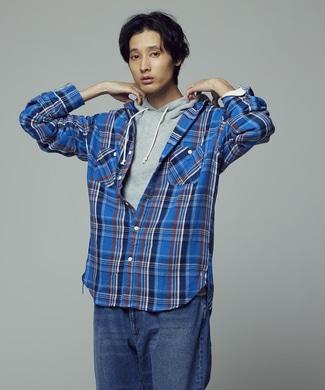 BACK NUMBER チェックヘビーワークシャツ メンズ ブルー