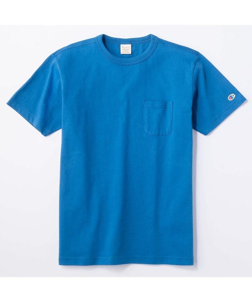 Champion ポケット付クルーネックTシャツ メンズ ブルー