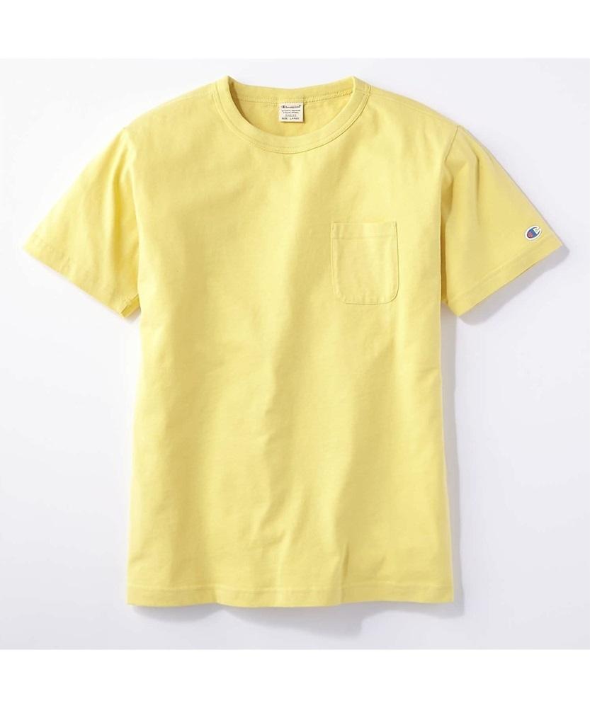 Champion ポケット付クルーネックTシャツ メンズ イエロー