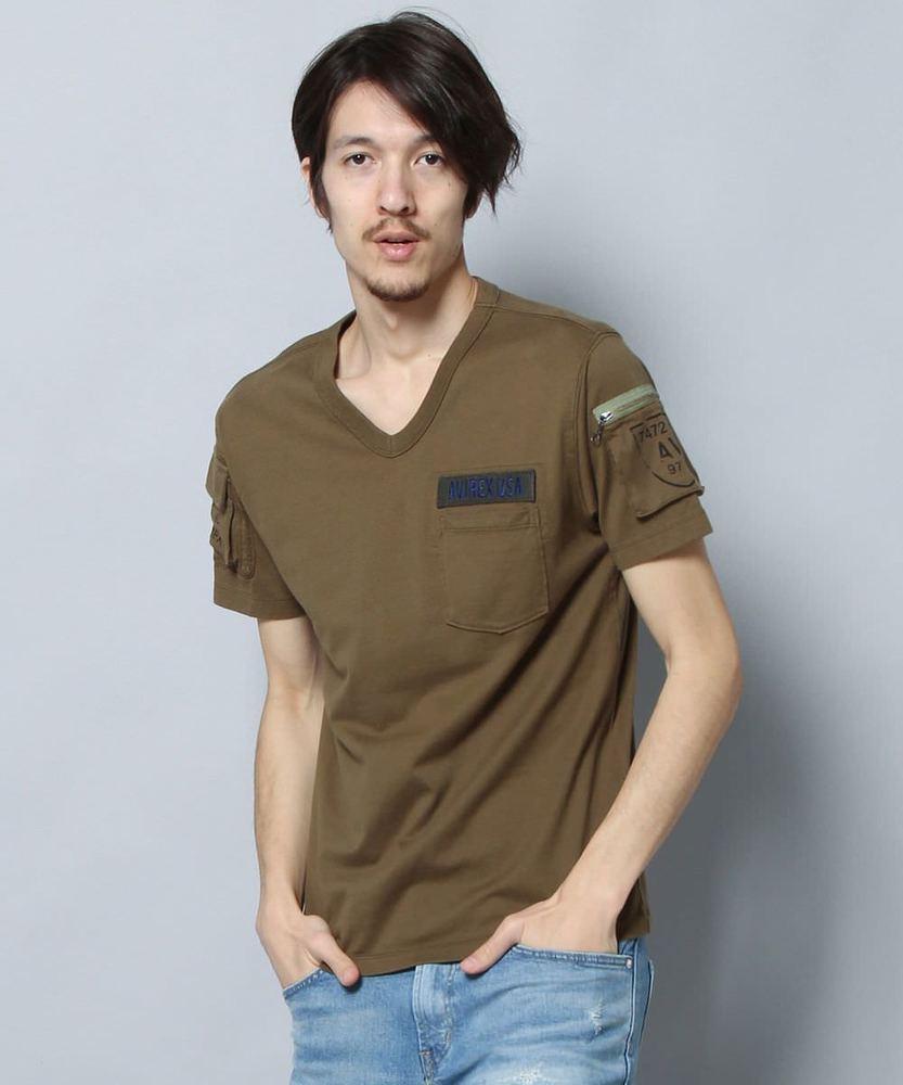 AVIREX ファティーグTシャツ メンズ オリーブ