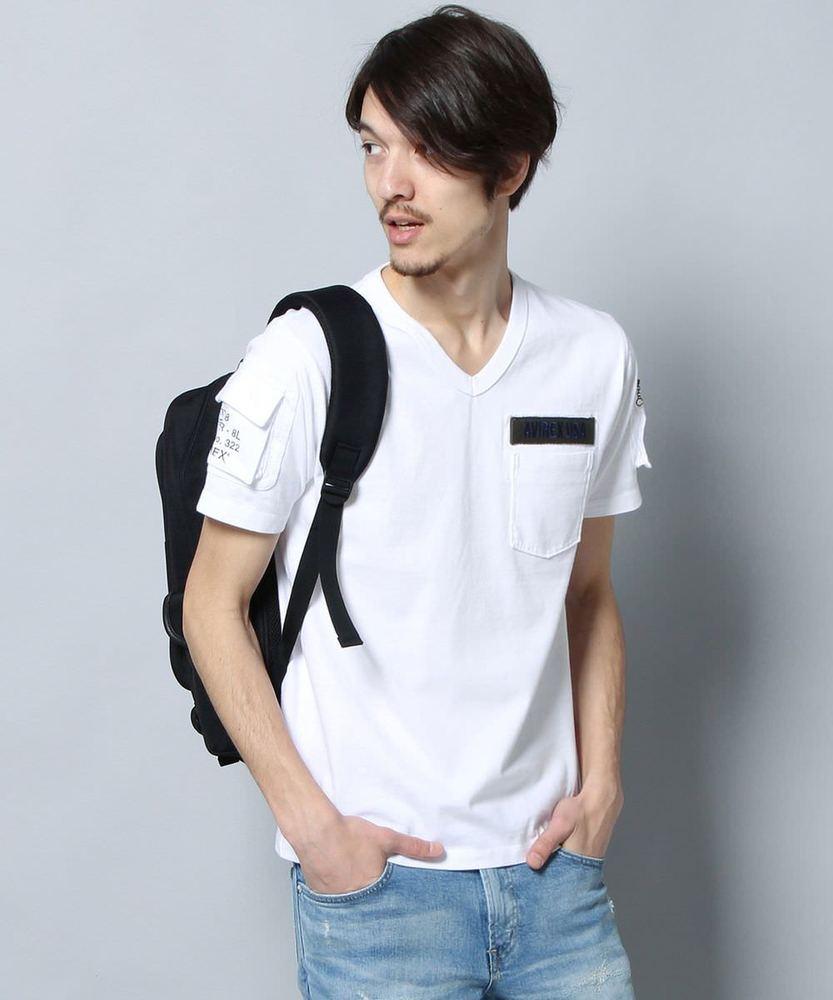 AVIREX ファティーグTシャツ メンズ ホワイト